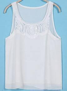 White Sleeveless Sequined Chiffon Tank Top