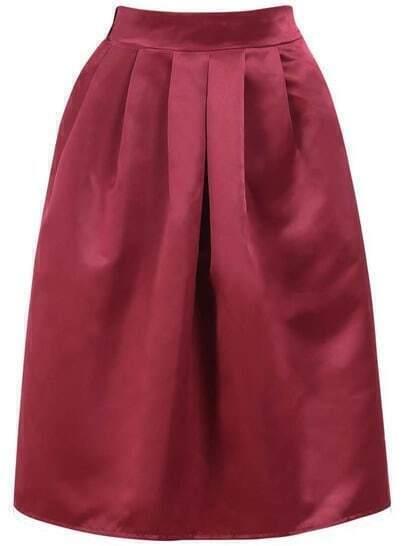 Red High Waist Flare Midi Skirt