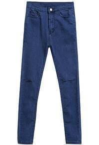 Blue Cut Out Denim Pant