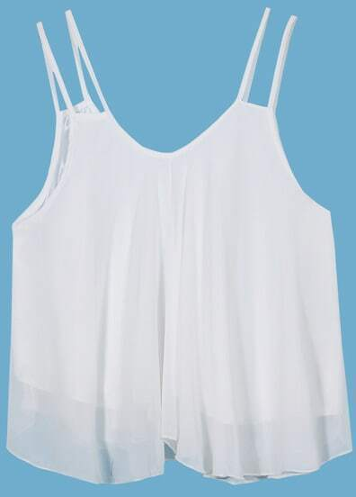 White Spaghetti Strap Chiffon Vest