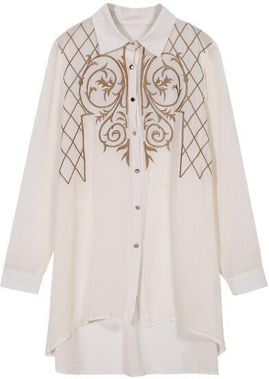 Apricot Long Sleeve Embroidered Dipped Hem Blouse