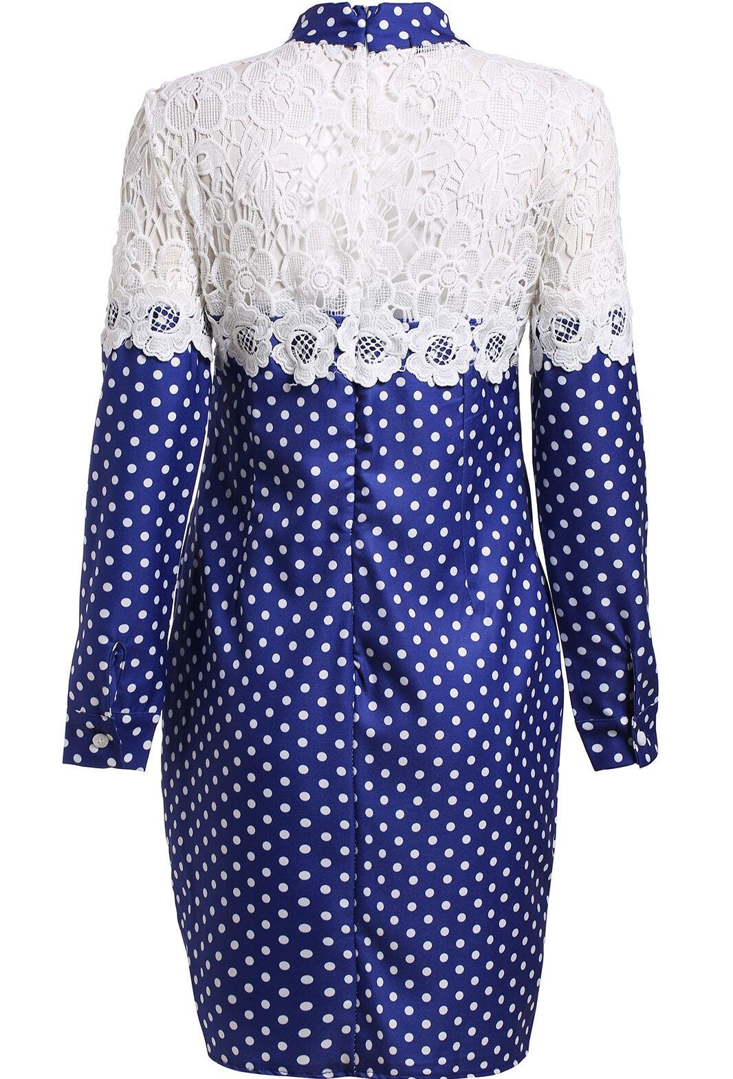 Blue Tie Collar Lace Polka Dot Dress Shein Sheinside