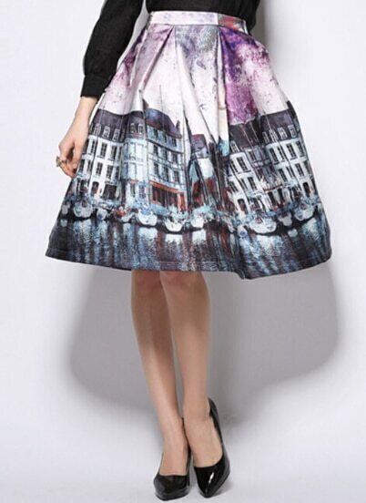 Purple Building Print Flare Skirt