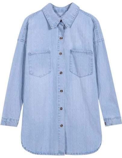 Blue Long Sleeve Vintage Pockets Denim Blouse