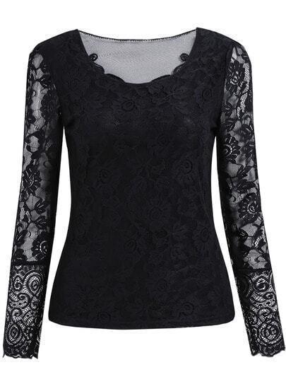 Black Lace Bow Blouse 37