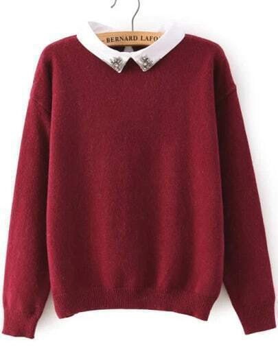 Red Long Sleeve Rhinestone Knit Sweater