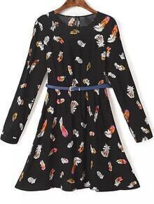 Black Long Sleeve Feather Print Dress