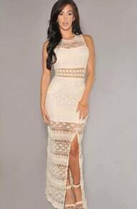 Apricot Sleeveless Split Lace Maxi Dress