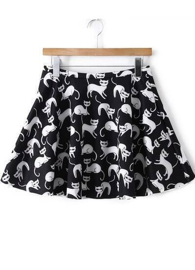 Black White Cats Print Flare Skirt