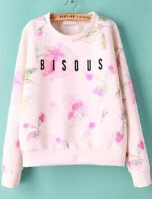 White Long Sleeve Floral Blsous Print Sweatshirt