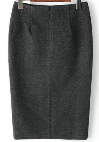 Grey Split Bodycon Skirt