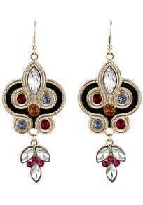 White Gemstone Gold Geometric Dangle Earrings