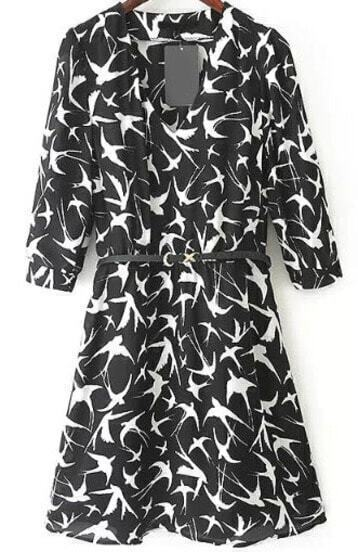 Black V Neck Half Sleeve Birds Print Flare Dress