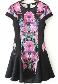 Black Short Sleeve Floral Print A Line Dress