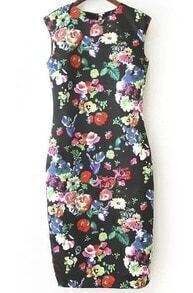 Black Cap Sleeve Floral Print Knee Length Dress