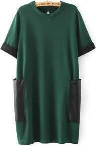 Green Short Sleeve Pockets Back Hollow Loose Dress