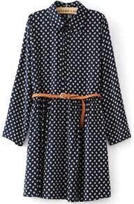 Navy Lapel Long Sleeve Vintage Print Dress