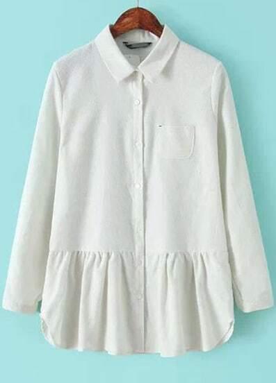 White Lapel Long Sleeve Peplum Blouse