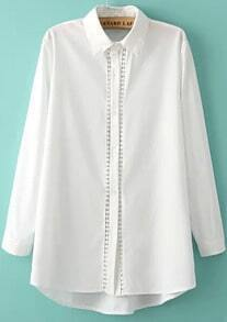 White Long Sleeve Hollow Blouse