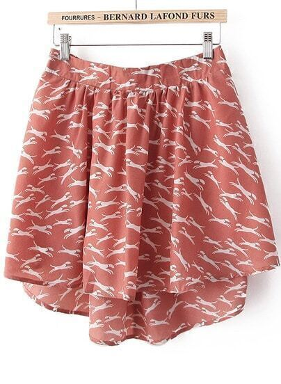 Pink Dog Print High-Low Skirt