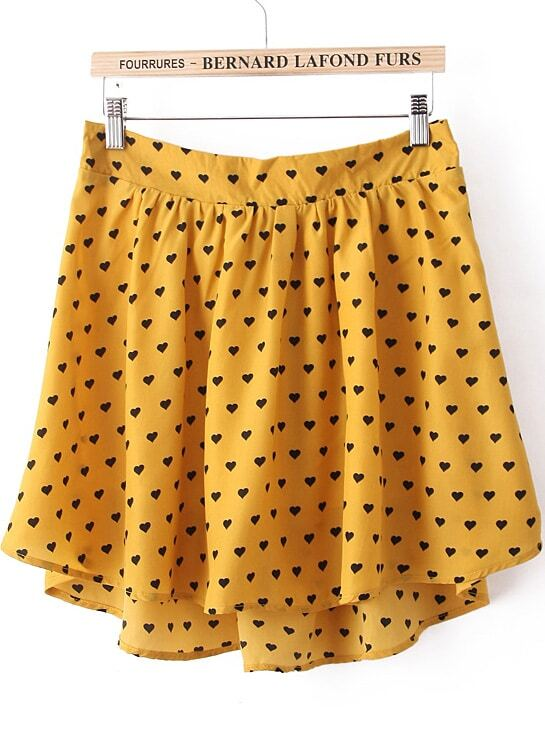 yellow print high low skirt shein sheinside