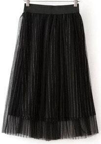 Black Striped Mesh Skirt