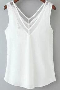 White V Neck Hollow Tank Top