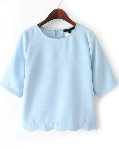 Blue Half Sleeve Wave Hem T-shirt