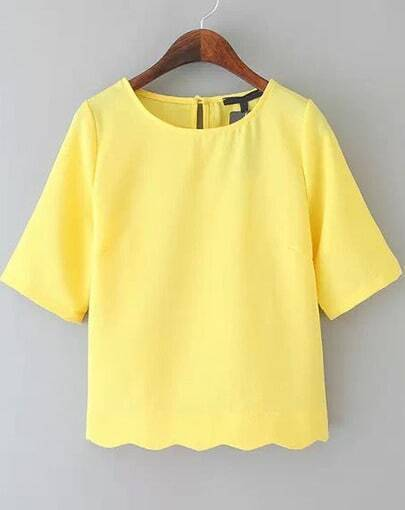 Yellow Half Sleeve Wave Hem T-shirt