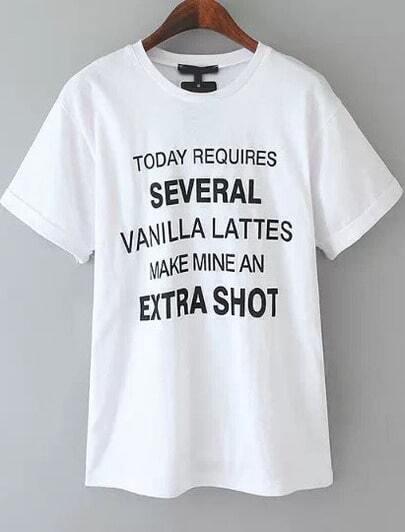 White Short Sleeve Monogram Print T-shirt