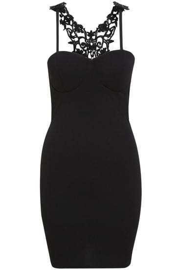 Black Spaghetti Strap Contrast Lace Bodycon Dress
