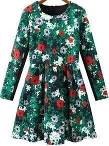 Green Long Sleeve Zipper Floral Pleated Dress