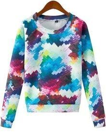 Patchwork Long Sleeve Print Loose Sweatshirt