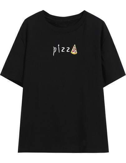 Black Round Neck Pizz Print T-shirt