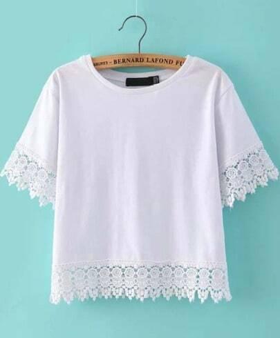 White Short Sleeve Floral Crochet Crop T-shirt