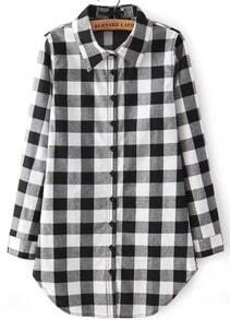 Black Buttons Long Sleeve Plaid Blouse