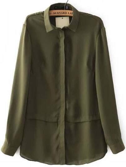 Army Green Long Sleeve Lapel Chiffon Blouse