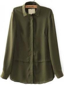 Army Green Long Sleeve Lapel Chiffon Blouse
