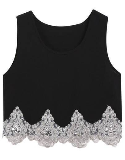 Black Round Neck Bead Crop Tank Top