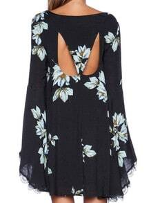 Black Long Sleeve Floral Print Dress