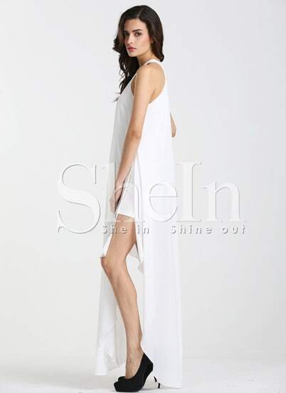 White Sleeveless Asymmetric Dress