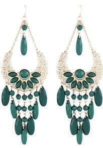 Green Gemstone Tassel Gold Hollow Dangle Earrings