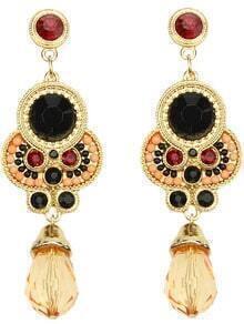 Orange Gemstone Gold Vintage Earrings