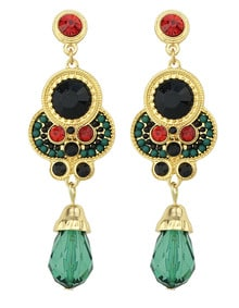 Green Gemstone Gold Vintage Earrings