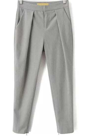 Grey Pockets Crop Pant
