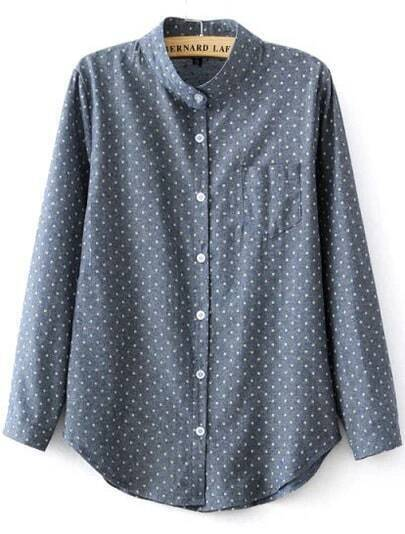 Blue Stand Collar Polka Dot Pocket Polkadots Blouse