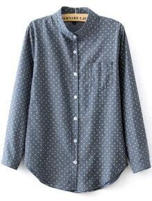 Blue Stand Collar Polka Dot Pocket Blouse