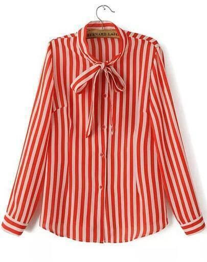 Orange Tie Collar Vertical Stripe Blouse