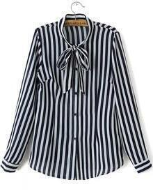 Navy Tie Collar Vertical Stripe Blouse