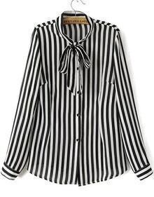 Black Tie Collar Vertical Stripe Blouse